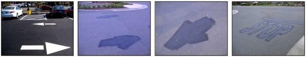 Знаки дорожной разметки до и после нанесения предварительного слоя